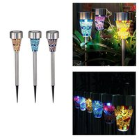 Wholesale Outdoor Light Stakes - Mosaic Solar Lawn Light LED Path Colorized Light Outdoor Garden Lawn Spot Lamp Outdoor Stake Lights OOA4341
