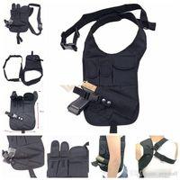 nylon pistole tasche großhandel-Tactical Holster Nylon Unterarm Schulter Tasche Pistolenhalfter mit Doppelmagazintasche Pistole Pistolenhalter