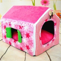 Wholesale pet house beds for sale - Design Collapsible Dog Houses Bed Keep Warm Comfy Soft Pet Supplies Short Plush Foldable Cat Mats With Windows xp jj