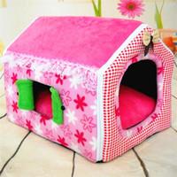 köpek yatakları tasarımı toptan satış-Tasarım Katlanabilir Köpek Evleri Yatak Sıcak Tutmak Rahat Yumuşak Pet Malzemeleri Ile Kısa Peluş Katlanabilir Kedi Paspaslar Windows 43 9xp jj