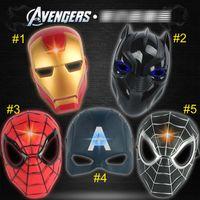 máscaras de super-heróis negros venda por atacado-5 estilo vingadores máscara led homem de ferro capitão américa spiderman pantera negra cosplay superhero halloween máscaras do partido b