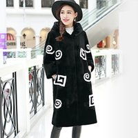 Wholesale Sheep S Wool - Fall winter faux Fur coat long design female with a hood patchwork color block slim all-match sheep shearing fur costs black