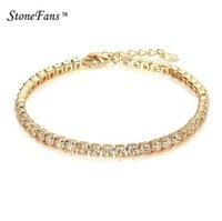 gold tennis armband kristalle großhandel-StoneFans CZ Kristall Tennis Armband Zirkon Armband Armreif Ketten Kristall Gold Strang Armbänder Für Frauen Weibliche Schmuck