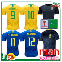 Wholesale short jesus - 2018 World Cup soccer jersey JR DANI ALVES COUTINHO PAULINHO MARCELO G JESUS 2019 COSTA home away man and women Training football shirts