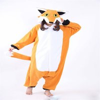 fox tier pyjamas groihandel-Frauen Fleece Pyjamas niedlichen Cartoon Tier Fuchs Cosplay Kapuzen Onesie Pyjamas für Frauen Paar warme Nachtwäsche