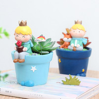 pequeñas ollas al por mayor-Cartoon Roogo 6 Cute Prince Macetas suculentas Resina Little Boy Maceta Bonsai Crafts Home Garden Yard Decor Regalos de cumpleaños