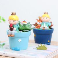 küçük kaplar toptan satış-Karikatür Roogo 6 Sevimli Prens Etli Tencere Reçine Küçük Çocuk Saksı Bonsai El Sanatları Ev Bahçe Yard Dekor Doğum Günü Hediyeleri