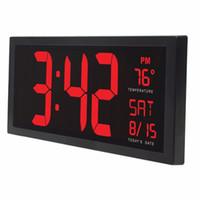 wandküche großhandel-14inch Großer Bildschirm Elektronische Wanduhr Desktop LED Digital Kalender Uhr mit Sommerzeit für Küche Wandbild