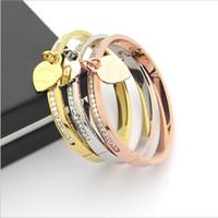 Wholesale titanium single bracelet - Titanium steel jewelry wholesale T letter heart single row diamond bracelet single heart bracelet 18K gold Korean ladies bracelet