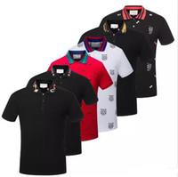 herren polo t-shirts großhandel-freies Verschiffen 19SS Italien Polohemd Männer Bee Kragen Mens beiläufige Baumwollpolohemd Schlange Tiger-T-Tops Polohemd Männer T-Shirts G66