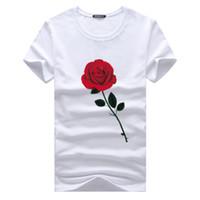 ropa con estampado de rosas al por mayor-Rosa impresa camisetas de verano camisa superior cuello redondo de manga corta 5XL hombres nueva ropa de moda de algodón Tops para hombre camisetas ocasionales