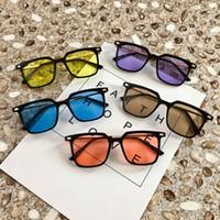 Wholesale korea women sunglasses for sale - Group buy Korea Stylish Sunglasses Half Transparent Lens candy color vintage eyeglasses for women men black spectacle frame ocean lens outdoor eyewear