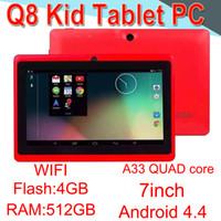 lanternas de comprimidos venda por atacado-Q8 7 polegadas tablet PC A33 Quad Core Allwinner Flash Android4.4 Forte Capacitiva 512 MB RAM 4 GB ROM WIFI Lanterna Dupla Câmera Q88 ECPB-6