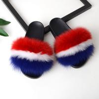 Wholesale plush fluffy slippers resale online - Bravalucia Women s Furry Slides Ladies Cute Plush Fox Fur Hair Fluffy Slipper Women s Fur Slippers Winter Warm Sandals for Women