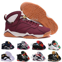 Wholesale Cheap Men Sneakers Online - [With Box]Cheap Air 7 French blue basketball shoes Raptor Hares Bordeaux Olympic sport sneaker shoes,For online hot sale us size 8-13