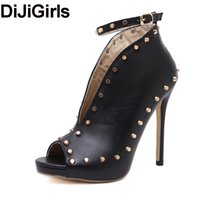 рума обувь оптовых-DiJiGirls Roma Latest Women Pumps Peep Toe Ankle Strap Sandals Gladiator Cut Out V Rivets Studs High Heel Shoes Woman Stiletto