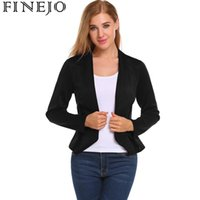 Wholesale Open Breast Clothing - FINEJO Basic Jackets Autumn Winter Coat Women's V-Neck Long Sleeve Open Front Slim Fit Casual OL Blazer Jacket Office clothes