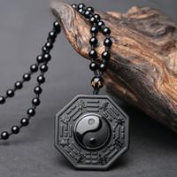 collar de los hombres colgantes al por mayor-Collar de moda Colgante Clásico Chino BAGUA Joyería de los hombres calientes Joyería de las mujeres Negro Obsidiana Yin Yang