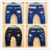 Wholesale old jeans - New spring autumn children's clothing baby boys girls jeans children cartoon trousers pants retail 2-5 years old