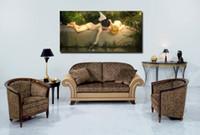 nackte klassische gemälde großhandel-Freies Verschiffen Nude einteilige Leinwand Wandkunst Klassische Engel Gemälde Engel Kunst Badezimmer Bilder Kunst Klassische Gemälde Home deco