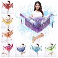 Wholesale belly dancing clothes - 180cm Belly Dance Costume Shine Tassel Fringe Hip Belt Waist Wrap Skirt Dancing Scarf Ethnic Clothes Kids Stage Wear AAA602 30PCS
