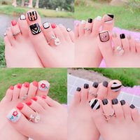 Wholesale square tip nails online - Hot Styles D Fake Nails Sexy Cute Cartoon Full Cover Acrylic Toenails Nail Supplies Nail Art Tool Square Toe Nails Set