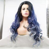 blaue weiße haarperücken großhandel-Premier Affodable Lace Front Perücken Schwarz Blau Weiß Ombre Farbe Hochtemperatur Kunsthaar Perücken Lange Welle Frisur