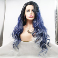 Wholesale ombre white black wigs for sale - Group buy Premier Affodable Lace Front Wigs Black Blue White Ombre Color High Temperature Synthetic Hair Wigs Long Wave Hairstyle