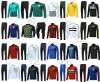 Wholesale france soccer jacket - 2018 World Cup Argentina Belgium Russia Colombia Mexico France Germany Spain Nigeria Portugal Soccer Tracksuit Football Jacket Training Suit