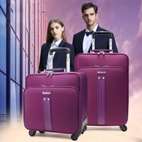 sac de bagage violet achat en gros de-Violet Oxford Rouleau De Bagages Spinner Femmes Chariot 24 pouces grande capacité Valise Roues 16 pouces Cabine Voyage Sacs Tronc