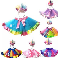 Wholesale New Kid Baby Girls Rainbow Tutu Skirt Unicorn Headband Photo Prop Costume Outfits Party Shows Perform Skirt T