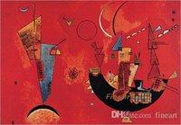 ingrosso la migliore tela di pittura di arte astratta-handmade Wassily Kandinsky famoso artista pittura riproduzione wall canvas art astratto rosso colore dipinti ad olio camera da letto migliore pittura qualit