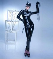 Wholesale leather jumpsuit halloween online – ideas Halloween Cosplay Women s Catsuit Sexy Stretch PU Leather Front To Crotch Zipper Jumpsuit Bodysuit With Mask S XXL