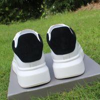 chaussures à talons épais vert achat en gros de-2018 épais talon blanc noir plate-forme des femmes et des hommes chaussures en cuir véritable chaussures décontractées femme lacent chaussures féminines taille 35-44