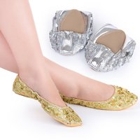 c9a8a9ed4 Bling Dance Shoes super Soft Non-slip Wearable shoes for Belly Dance with  Sequins Wafers Gold Silver Practice Performance Shoes