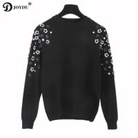 diseño damas jersey al por mayor-JOYDU Runway Design Sweater Mujeres 2017 de Corea Moda Jersey de punto Rebordear Flor Oficina Señora Invierno Casual Jumper pull femme