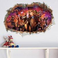 autocollants de héros achat en gros de-3D Avengers Vinyle Stickers Muraux Pour Enfants Chambres Stickers Muraux Le Super Héros Figures Décor À La Maison Garçon décoration de la chambre Livraison gratuite
