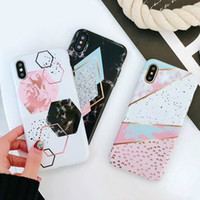 Wholesale Candy Funny - Luxury iphone Case For iphone X Case For iphone 6S 7 8 Plus Funny Geometry Splice Pattern Cases Retro Cover Candy Color