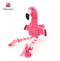 Wholesale velvet puppy - Pink Flamingo Shape Pet Dogs Toy Interactive Plush Velvet Pet Puppy Chew Squeaky Sound Toys with Cotton Rope
