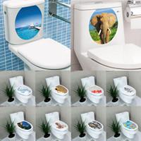 ingrosso adesivi da bagno-Moda creativa 1 PZ 3D Toilet Seat Wall Sticker Vinyl Art Wallpaper rimovibile Bagno Decalcomanie Home Decor