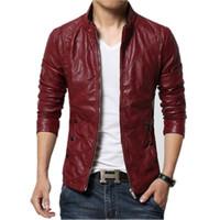 ingrosso giacca di pelle marrone rosso-giacche firmate da uomo Giacca in pelle PU Uomo Nero Rosso Marrone Solido Cappotti in pelliccia sintetica Uomo Giacca slim in pelle scamosciata da moto da uomo di tendenza