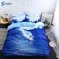 conjunto de comforter da rainha do oceano venda por atacado-Nórdico roupa de cama roupa de cama 3d oceano impressão de surf conjunto de cama adultos azul cama consolador capa de edredão set eua rainha rei