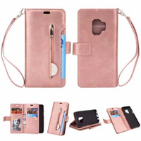 Wholesale Galaxy Pocket Strap - Multi-function 9 card slots Zip wallet card holder with hand strap for Samsung Galaxy S9 S9 Plus Luxury case