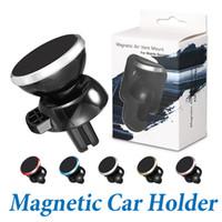 ingrosso supporto del telefono magnetico iphone-Il più nuovo forte supporto magnetico dello sfiato di aria dell'automobile monta il supporto universale del telefono di rotazione di 360 gradi per il iPhone X Samsung con il pacchetto