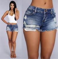 yüksek belli seksi kot pantolon toptan satış-Kadın Moda Marka Vintage Püskül Perçin Yırtık Yüksek Waisted Kısa Jeans Punk Seksi Sıcak Kadın Denim Şort