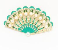 ramillete verde azul al por mayor-2018 Nuevo azul verde chino ventilador resaltar perla retro corsage broche pin accesorios de ropa envío gratis