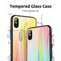 Wholesale phone case rainbow online – custom Rainbow Laser Aurora Gradient Color Colorful Soft TPU Tempered Glass Phone Case Cover For iPhone S X XS XR XS MAX