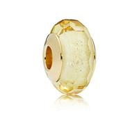 facettierte ovale perlen großhandel-NEUE 100% 925 Sterling Silber Goldene Facettierte Murano Glas Charme Glasperlen Fit Original Charme Armband Schmuck Für Frauen Geschenk