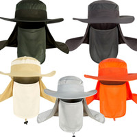 anti uv maskesi toptan satış-Açık Böcek Sivrisinek Kovucu Kova Şapka Anti-Uv Boyun Koruma Maske Kulak Koruma Jungle Yağmur Ormanı Şapka Ile Boonie Şapka