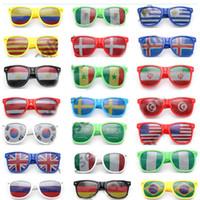 barras de gafas de sol al por mayor-36 Estilo Bar Fiesta Fans Gafas de sol para bandera nacional Copa del mundo Festival de fútbol Fans Gafas de sol Regalos del favor de fiesta WX9-498